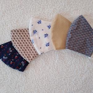 5 db Textil maszk, arcmaszk, szájmaszk, NoWaste, Textilek, Kendő, Varrás, 5 db Különböző mintás pamutvászonból készült kétrétegű maszkok.\nBelső része egyszínű pamutvászon. Mo..., Meska