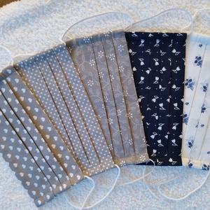 Textil maszk, arcmaszk, szájmaszk csomag, NoWaste, Textilek, Kendő, Varrás,  5 db Különböző szürke- fehér illetve kék-fehér mintás pamutvászonból készült kétrétegű maszkok.\nBel..., Meska