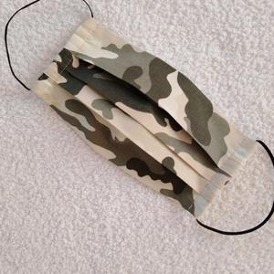 Textil maszk, Arcmaszk, Szájmaszk ( Férfi-Fiú), NoWaste, Textilek, Kendő, Varrás, Terepmintás (öld-beige) pamutvászonból készült kétrétegű maszk.\nBelső része fehér pamutvászon. Mosha..., Meska