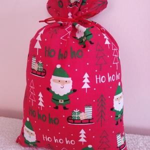 Mikulászsák, ajándékzsák, Karácsony & Mikulás, Mikulás, Egyedi készítésű  télapókat ábrázoló pamutvászonból készült mikulászsák. Melybe sok kis ajándék rejt..., Meska