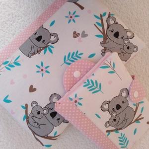 Koalamacik Pelenkatáska ,pelenkázótáska és Egészségügyi kiskönyv borító, Babalátogató szett, Játék & Gyerek, Babalátogató ajándékcsomag, Varrás, Kedves mintázatú koalamacikat ábrázoló pamutvászon és vele harmonizáló rózsaszín alapon fehér pöttyö..., Meska
