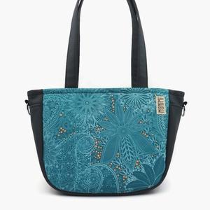 City-bag 50 türkiz női táska, Táska, Válltáska, oldaltáska, Varrás, A kék szerelmeseinek készült ez a táska! Gyönyörű mandala szerű mintái Indiát idézik. Az apró kis p..., Meska