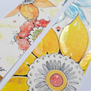 Virágos rét könyvjelző szett -II., Otthon & Lakás, Papír írószer, Könyvjelző, Festészet, Akvarell technikával festett könyvjelzők. Kreatív kartonra készült nyomat, az irizáló festés eredeti..., Meska