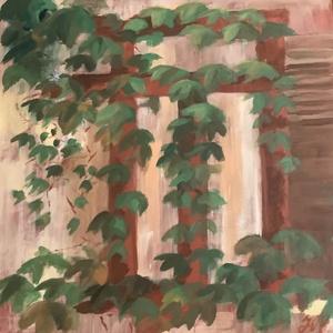 Vadszőlő 50x50 cm, Művészet, Festmény, Akril, Festészet, Ez a festmény egy alkotótáborban készült, komplementer színekkel. A házon lévő vadszőlő megihletett ..., Meska
