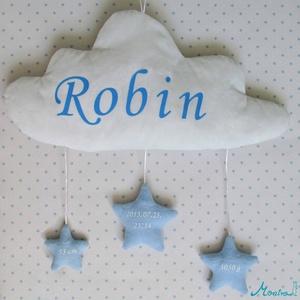 Felhőcskés fali dísz csillagokkal és a baba adataival, Betű & Név, Dekoráció, Otthon & Lakás, Varrás, Csodaszép, pihe-puha felhőcske, amin a gyermekünk neve szerepel, alatta pedig 3 csillagocskán a szül..., Meska