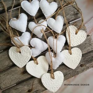 14 darabos gyapjúfilc/gyurma szív dekorációk (MonMonde) - Meska.hu