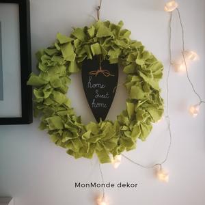 Home sweet home_dekoráció, Otthon & lakás, Dekoráció, Ünnepi dekoráció, Karácsonyi, adventi apróságok, Karácsonyi dekoráció, Virágkötés, Festett tárgyak, 25 cm-es fa keretre készítettem ezt az egyszerű, letisztult hangulatot árasztó dekorációt, mely tök..., Meska