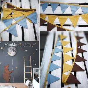 Zászló füzér , Függődísz, Dekoráció, Otthon & Lakás, Varrás, Készítettem egy extra hosszú  3 méteres világos türkizkék, mustársárga (okker sárga), barna színű zá..., Meska