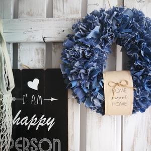 Rusztikus kékség dekoráció, Otthon & lakás, Dekoráció, Ünnepi dekoráció, Anyák napja, Dísz, Csomózás, Saját készítésű alapra álmodtam meg ezt az egyszerű, letisztult hangulatot árasztó dekorációt, mely ..., Meska