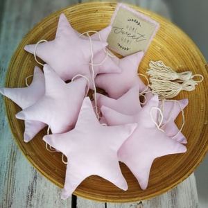 Rózsaszín csillag füzér_dekoráció, Otthon & lakás, Dekoráció, Lakberendezés, Gyerek & játék, Gyerekszoba, Varrás, Készítettem egy extra hosszú 3 méteres babarózsaszínű 10 db csillagokból álló füzért, mely visszafog..., Meska