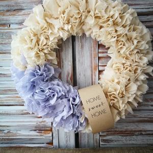 Lila álom dekoráció, Otthon & lakás, Dekoráció, Lakberendezés, Ajtódísz, kopogtató, Csomózás, Saját készítésű alapra álmodtam meg ezt a kellemes hangulatot árasztó halvány lila és bézs színű dek..., Meska