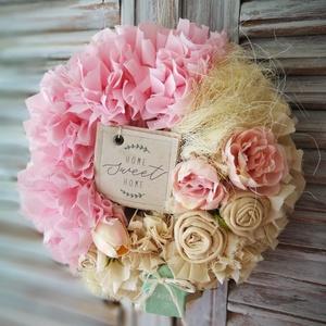 Rózsaszín álom_dekoráció, Otthon & lakás, Dekoráció, Ünnepi dekoráció, Anyák napja, Dísz, Csomózás, Ha erre a dekorációmra ránézel, az biztos, hogy rózsaszínben fogod látni a világot. \n20 cm - es szal..., Meska