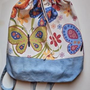 Nagy méretű hátizsák, Táska, Táska, Divat & Szépség, Hátizsák, Varrás, Dekor textilből készült hátizsák, tornazsák, bélelt, belső zsebbel. Nagy méretű, bőven elfér benne c..., Meska