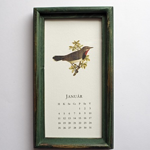 Naptár 2021 -  Madarak, Otthon & Lakás, Dekoráció, Falinaptár & Öröknaptár, Fotó, grafika, rajz, illusztráció, 12 különböző madárillusztrációból álló naptár, fa képkeretben, akasztóval. A naptárlapok 320 g-os st..., Meska