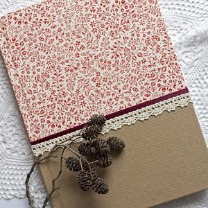Piros virágos napló, Otthon & Lakás, Papír írószer, Jegyzetfüzet & Napló, Papírművészet, Decoupage, transzfer és szalvétatechnika, Natúr és piros apró virágos mintájú olasz díszpapírral borított napló, bordó szaténszalag és ekrü pa..., Meska