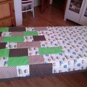 Zöld baglyos ágytakaró - otthon & lakás - lakástextil - ágytakaró - Meska.hu