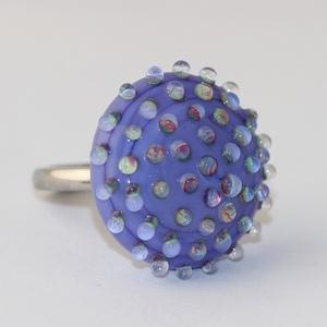 Minden napra egy gyűrű ! - lila szivárvány buborékos (MoroBarbaraGlass) - Meska.hu
