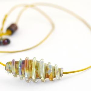 Earth spiral (óarany)- egyedi üveggyöngy lánc  (MoroBarbaraGlass) - Meska.hu