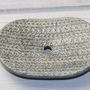 Knitted- kerámia szappantartó barnáskék (MoroBarbaraGlass) - Meska.hu