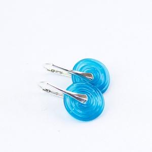 Türkiz disc-üveg lámpagyöngy fülbevaló ezüsttel, Ékszer, Fülbevaló, Selymesen áttetsző türkizszínű üvegből olvasztottam a vékony, disc formára alakított üveggyöngyöket,..., Meska