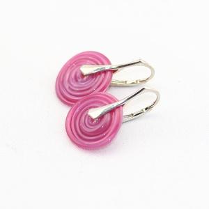 Pink disc-üveg lámpagyöngy fülbevaló ezüsttel - Meska.hu