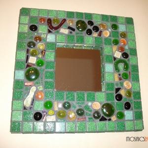 """Mozaik tükör - \""""Zölderdő titkai\"""", Dekoráció, Otthon & lakás, Lakberendezés, Képkeret, tükör, Dísz, Mozaik, Üvegművészet, Mozaik tükör - \""""Zölderdő titkai\""""\n\n\nÜvegmozaikkal díszített tükör.\nMegnyugtató, üde színeivel igazán ..., Meska"""