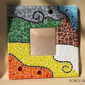 """Mozaik tükör - \""""Színes álom\"""", Dekoráció, Otthon & lakás, Lakberendezés, Képkeret, tükör, Dísz, Mozaik, Üvegművészet, Mozaik tükör - \""""Színes álom\""""\n\n\nVidám, színes üvegmozaikkal díszített tükör.\nMesés színeivel igazán s..., Meska"""