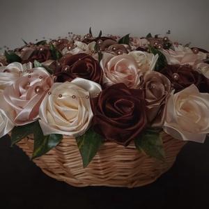 Örök rózsakosár, Otthon & Lakás, Dekoráció, Csokor & Virágdísz, Virágkötés, Mindenmás, Sok-sok rózsából álló örökcsokor kosárban fixen elhelyezve melynek mérete szélesség 35cm, magasság 1..., Meska