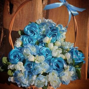 Örökcsokor rózsakosár, Otthon & Lakás, Dekoráció, Csokor & Virágdísz, Virágkötés, Mindenmás, Rózsakosár örökcsokor kék színben. Méret: magasság 35cm, szélesség 30cm. Születésnapra, névnapra, an..., Meska