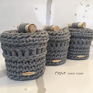 Nature inspired baskets 3 pcs, Otthon & Lakás, Tárolás & Rendszerezés, Tárolókosár, Horgolás, 5 mm minőségi pamut zsinórfonalból horgolási technikával készített egyedi, modern, természet ihlette..., Meska
