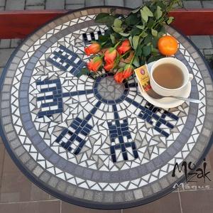 Viking iránytű – mozaikozott komplett asztal, Otthon & Lakás, Bútor, Asztal, Mozaik, Újra elkészítettem ezt a stabil fém-üveg-üvegmozaik asztalt, mely kisméretű teraszok, erkélyek kedve..., Meska