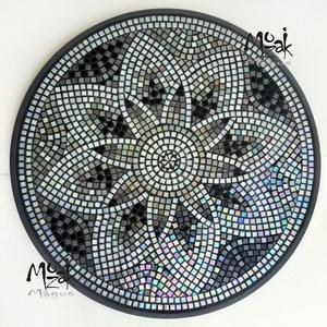 Ezer+1 varázslat - mozaikos (teljes) asztal, Otthon & Lakás, Bútor, Asztal, Mozaik, El sem tudom elmesélni, hány ezer arca van ennek az irizáló, közel  2000 darab üvegmozaikkal díszíte..., Meska