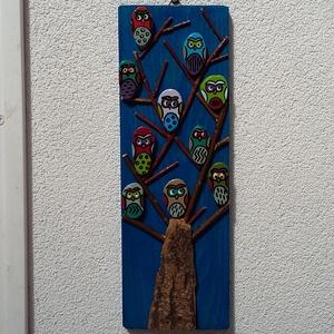 Baglyok a fán, Otthon & Lakás, Kép & Falikép, Dekoráció, Kültéri fafestékkel kezelt falapra, kézzel festett és lakkozott kavicsok,gallyak, gyöngyök és fakére..., Meska