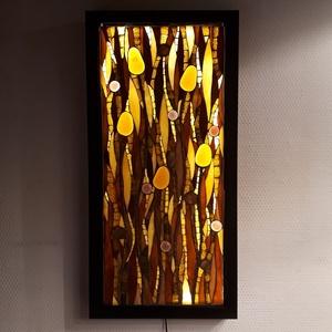 Borostyánvilág - üvegmozaik falikép világítással, Otthon & Lakás, Kép & Falikép, Dekoráció, Világító üvegmozaik falikép  mérete:26*53cm  Üveglapra ragasztottam a motívumot üvegmozaik technikáv..., Meska
