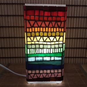 Üvegmozaik lámpa - szivárványos szögletes (MozaRozi) - Meska.hu