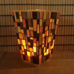 Üvegmozaik gyertyatartó/váza barna/narancs, Képzőművészet, Otthon & lakás, Lakberendezés, Kaspó, virágtartó, váza, korsó, cserép, Dekoráció, Mozaik, Mindenmás, Trapéz alakú üveg vázára készült a motívum  kézzel vágott spektrum üvegekből és üvegmozaik lapokból...., Meska