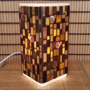 Üvegmozaik lámpa - barna szögletes (MozaRozi) - Meska.hu
