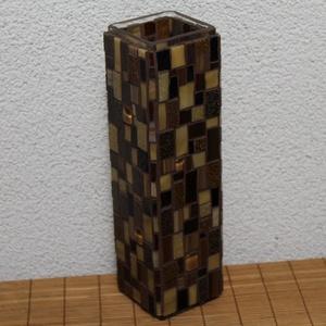 Üvegmozaik váza szögletes barna, Váza, Dekoráció, Otthon & Lakás, Mozaik, Mindenmás, Négyzethasáb alakú üveg vázára készült a motívum  kézzel vágott spektrum üvegekből és üvegmozaik lap..., Meska
