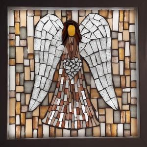 A szeretet angyala - üvegmozaik falikép világítással, Otthon & lakás, Dekoráció, Lakberendezés, Lámpa, Falikép, Mozaik, Mindenmás, Világító üvegmozaik falikép\n\nmérete:25x25cm\n\nÜveglapra ragasztottam a motívumot üvegmozaik technikáv..., Meska