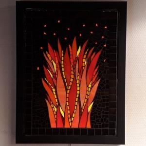 Kandallótűz - üvegmozaik falikép világítással, Otthon & lakás, Dekoráció, Lakberendezés, Lámpa, Falikép, Mozaik, Mindenmás, Világító üvegmozaik falikép\n\nmérete:33x43cm\n\nÜveglapra ragasztottam a motívumot üvegmozaik technikáv..., Meska