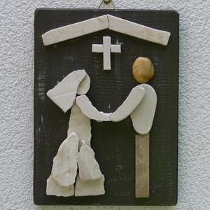 Esküvő - kavicskép , Esküvő, Nászajándék, Emlék & Ajándék, Festett lelakkozott fenyőfa lapra kavicsok felragasztásával készült falikép akasztóval.  Romantikus,..., Meska