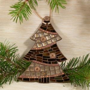 Barna-arany karácsonyfa - üvegmozaik dísz, Karácsonyi dekoráció, Karácsony & Mikulás, Otthon & Lakás, Mozaik, Mindenmás, Üvegmozaik karácsonyi dísz akasztóval\n\nMérete: kb. 13*16*2cm\n\nFormára vágott, festett fa alapra raga..., Meska