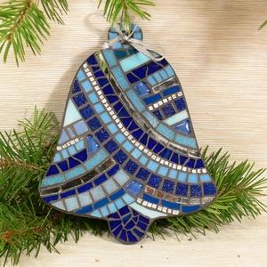 Kék-ezüst harang - üvegmozaik dísz, Otthon & Lakás, Függődísz, Dekoráció, Mozaik, Mindenmás, Meska