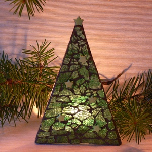 Karácsonyi üvegmozaik mécsestartó, Gyertya & Gyertyatartó, Dekoráció, Otthon & Lakás, Mozaik, Mindenmás, Karácsonyi motívummal díszített üvegmozaik mécsestartó\n\nNégyzet alakú mécsestartóra ragasztott üvegl..., Meska