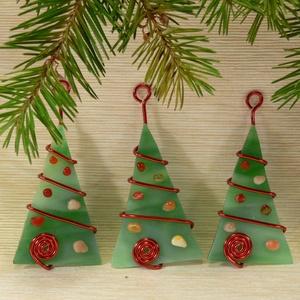 Karácsonyfadísz 3 db-os, Karácsonyfadísz, Karácsony & Mikulás, Otthon & Lakás, Mindenmás, Üvegművészet, Fenyő formájú karácsonyi dísz - egy és több darabos szettben is kapható többféle színben\n\nKézzel vág..., Meska