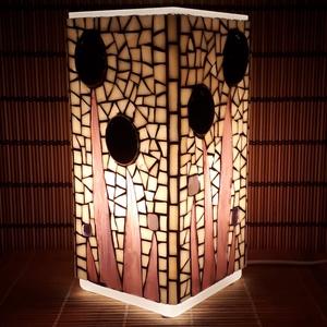 Üvegmozaik lámpa - lila virágos szögletes, Otthon & Lakás, Lámpa, Asztali lámpa, Üvegmozaik asztali lámpa  Négyzethasáb alakú lámpatestre készült a motívum  kézzel vágott spektrum ü..., Meska