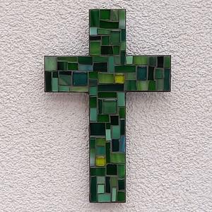 Kereszt - zöld - üvegmozaik falidísz, Otthon & Lakás, Dekoráció, Falra akasztható dekor, Mozaik, Mindenmás, Üvegmozaik falidísz akasztóval\n\nMérete: kb. 12*18*2cm\n\nLefestett fa alapra ragasztottam fel a motívu..., Meska
