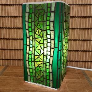Üvegmozaik lámpa - zöld szögletes - Meska.hu