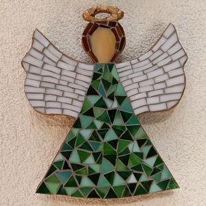 Zöld angyal - üvegmozaik falidísz, Otthon & Lakás, Dekoráció, Falra akasztható dekor, Mozaik, Mindenmás, Meska