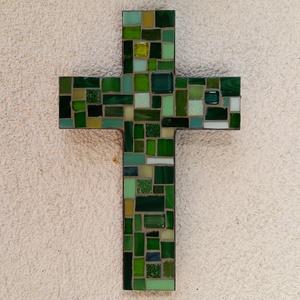 Kereszt - zöld - üvegmozaik falidísz, Otthon & Lakás, Dekoráció, Falra akasztható dekor, Mozaik, Mindenmás, Meska